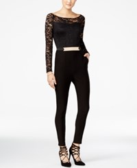 Material Girl Juniors' Belted Lace Jumpsuit Only At Macy's Caviar Black