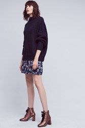 Anthropologie Melia Floral Mini Skirt Navy