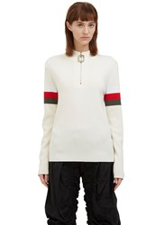 J.W.Anderson Zipped Mock Neck Striped Sleeve Sweater Cream