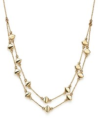Bloomingdale's 14K Yellow Gold Diamond Shaped Bead Station Necklace 17.25