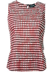 Giorgio Armani Pleated Gingham Top Red