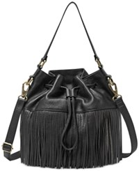 Fossil Jules Large Fringe Leather Drawstring Crossbody Black