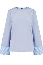 Warehouse Stripe Long Sleeve Top Cleo Blue Stripe