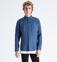 American Blue Linen Twill Button Collar Shirt