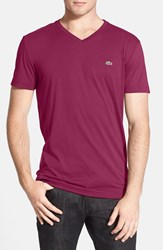 Men's Lacoste Pima Cotton Jersey V Neck T Shirt Fairground Pink