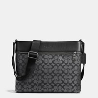 Coach Sam Crossbody In Signature Coated Canvas Black Antique Nickel Charcoal