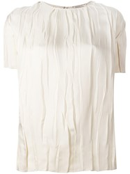 Nina Ricci Draped Round Neck Blouse Nude And Neutrals