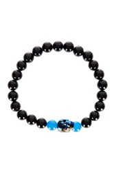 Jean Claude Blue Swarovski Crystal Skull Accented Blue Agate And Black Onyx Bead Bracelet Beige