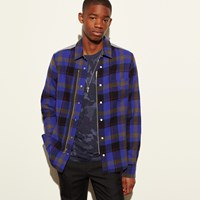 Coach Plaid Zip Shirt Blue Plaid