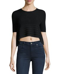 Opening Ceremony Linear Ribbed Crop Top Black