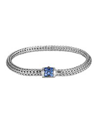 Classic Chain 5Mm Extra Small Braided Silver Bracelet Blue Sapphire John Hardy