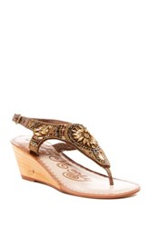 Naughty Monkey Spring Buds Embellished Wedge Sandal Metallic