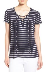 Gibson Women's Lace Up V Neck Stripe Top Navy White