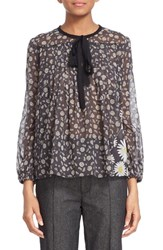 Women's Marc Jacobs Daisy Print Sheer Tie Neck Peasant Blouse