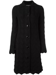 Salvatore Ferragamo Scalloped Cardigan Black