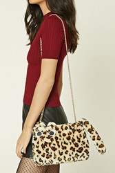 Forever 21 Leopard Print Cat Crossbody Cream Tan