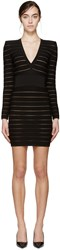 Balmain Black Deep V Bandage Dress