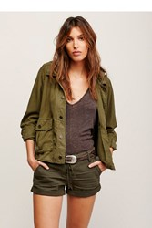 Free People Hooded Swingy Military Jacket