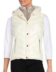 Marc New York Sherpa Lined Hooded Performance Puffer Vest White
