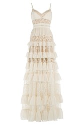 Elie Saab Silk Blend Tiered Lace Gown White
