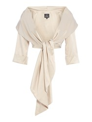Adrianna Papell Satin Wrap Jacket Champagne