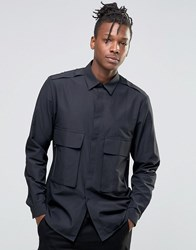Asos Military Shirt With Double Pocket Zips In Regular Fit Black