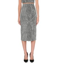 Alice Olivia And Spiga Stretch Knit Pencil Skirt Grey Off White