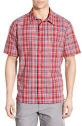 Patagonia Men's 'Puckerware' Regular Fit Check Short Sleeve Sport Shirt Classic Red
