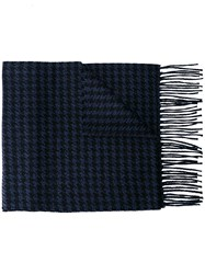 Canali Houndstooth Pattern Scarf Blue