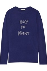 Bella Freud Day For Night Embroidered Wool Sweater Navy