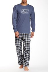 Lucky Brand Thermal Tee And Flannel Pant Sleep Set Blue