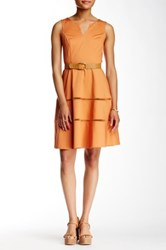 Nine West Sleeveless Belted Fit And Flare Dress Orange