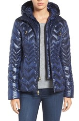 Laundry By Shelli Segal Women's Lightweight Down Jacket With Inset Hooded Bib Mystic Blue