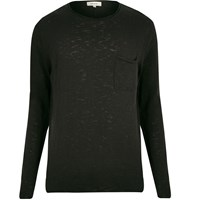 River Island Mens Black Long Sleeve T Shirt