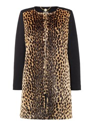 Biba Leopard And Wool Mix Zip Detail Coat Multi Coloured