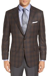 Hickey Freeman Men's 'Beacon' Classic Fit Plaid Wool Sport Coat Brown