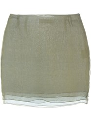 Romeo Gigli Vintage Layered Mini Skirt Green