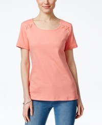Karen Scott Lace Up Detail T Shirt Only At Macy's Coral Lining
