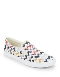 Bucketfeet Her Garden Chevron Low Top Canvas Slip On Sneakers White