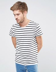 Selected Homme Stripe T Shirt With Pocket White Black