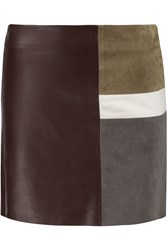 Theory Leather And Suede Mini Skirt Red
