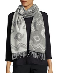 Lord And Taylor Fringed Chevron Wrap Or Scarf Grey