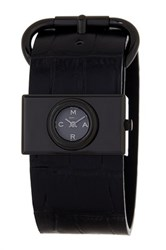Marc By Marc Jacobs Women's Viv Croc Embossed Leather Buckle Watch Black