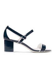 Sandro Patent Leather Sandals Blue