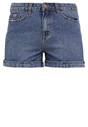 New Look Mom Monie Denim Shorts Teal Blue