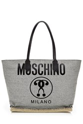 Moschino Tote With Leather Grey