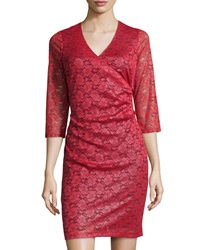 Marc New York By Andrew Marc Shimmer Lace Tuck Pleated Dress Poinsettia