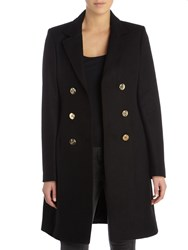 Versace Jeans Double Breasted Wool Coat Black
