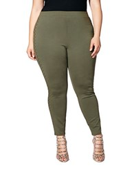 Mblm By Tess Holiday Plus Solid Studded Leggings Green