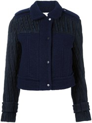 Carven Quilted Sleeves Jacket Blue
